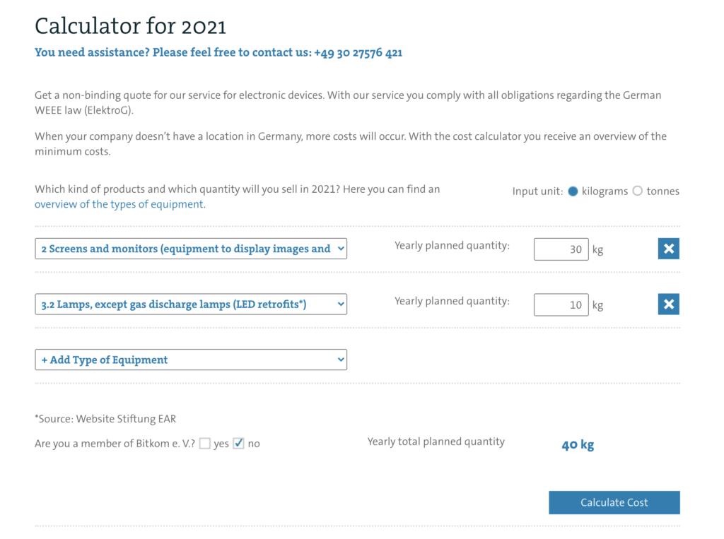 interactive price calulator